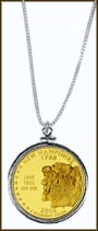 New Hampshire Quarter Sterling Silver Necklace - with Gold Plated State Quarter