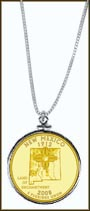 New Mexico Quarter Sterling Silver Necklace - with Gold Plated State Quarter
