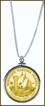 Northern Mariana Islands Quarter Sterling Silver Necklace - with Gold Plated Territorial Quarter