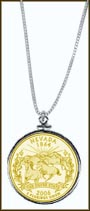 Nevada Quarter Sterling Silver Necklace - with Gold Plated State Quarter