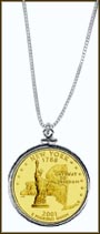 New York Quarter Sterling Silver Necklace - with Gold Plated State Quarter