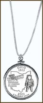 Ohio Quarter Sterling Silver Necklace