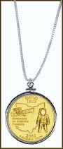 Ohio Quarter Sterling Silver Necklace - with Gold Plated State Quarter MAIN