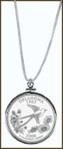 Oklahoma Quarter Sterling Silver Necklace