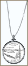 Oregon Quarter Sterling Silver Necklace