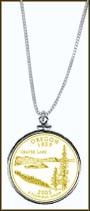 Oregon Quarter Sterling Silver Necklace - with Gold Plated State Quarter
