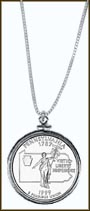 Pennsylvania Quarter Sterling Silver Necklace