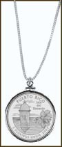Puerto Rico Quarter Sterling Silver Necklace