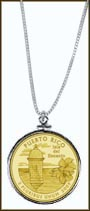 Puerto Rico Quarter Sterling Silver Necklace - with Gold Plated Territorial Quarter