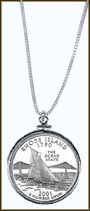 Rhode Island Quarter Sterling Silver Necklace