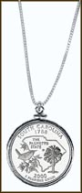 South Carolina Quarter Sterling Silver Necklace