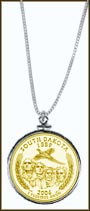 South Dakota Quarter Sterling Silver Necklace - with Gold Plated State Quarter