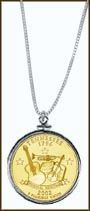 Tennessee Quarter Sterling Silver Necklace - with Gold Plated State Quarter