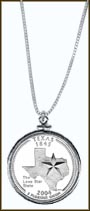 Texas Quarter Sterling Silver Necklace MAIN