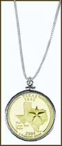 Texas Quarter Sterling Silver Necklace - with Gold Plated State Quarter