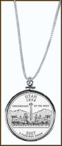 Utah Quarter Sterling Silver Necklace