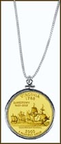 Virginia Quarter Sterling Silver Necklace - with Gold Plated State Quarter