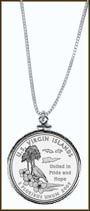 US Virgin Islands Quarter Sterling Silver Necklace