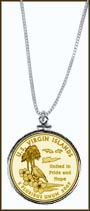 US Virgin Islands Quarter Sterling Silver Necklace - with Gold Plated Territorial Quarter