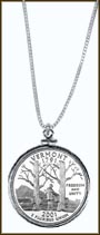 Vermont Quarter Sterling Silver Necklace