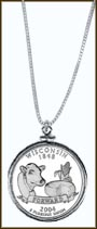 Wisconsin Quarter Sterling Silver Necklace