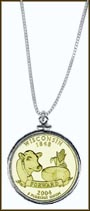 Wisconsin Quarter Sterling Silver Necklace - with Gold Plated State Quarter