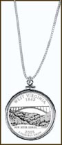 West Virginia Quarter Sterling Silver Necklace