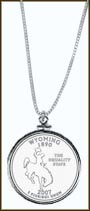 Wyoming Quarter Sterling Silver Necklace