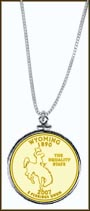 Wyoming Quarter Sterling Silver Necklace - with Gold Plated State Quarter