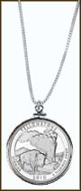 Yellowstone National Park Quarter Sterling Silver Necklace MAIN