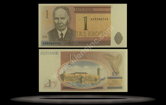 Estonia Banknote, 1 Kroon, 1992, P#69a