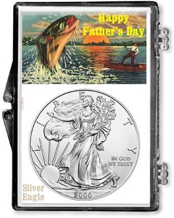 2000 Father's Day Fishing Scene American Silver Eagle Gift Display LARGE