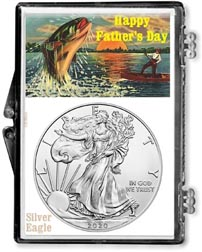 Father's Day Fishing Scene American Silver Eagle Gift Display THUMBNAIL