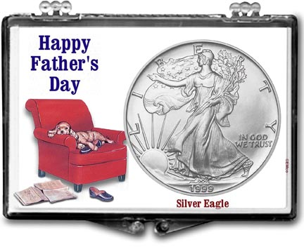 1999 Father's Day Easy Chair American Silver Eagle Gift Display LARGE