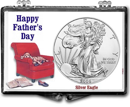 2006 Father's Day Easy Chair American Silver Eagle Gift Display LARGE