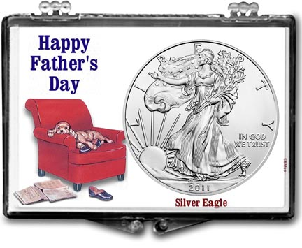 2011 Father's Day Easy Chair American Silver Eagle Gift Display LARGE