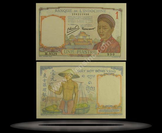 French Indochina Banknote, 1 Piastre, ND (1936), P#54b