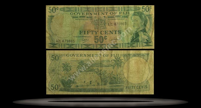 Fiji Banknote, 50 Cents, ND (1969), P#58a