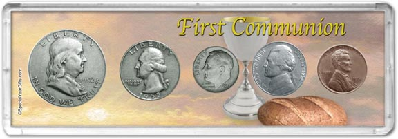 1952 First Communion Coin Gift Set LARGE