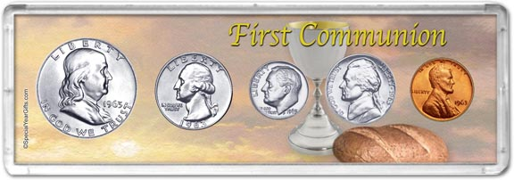 1963 First Communion Coin Gift Set LARGE