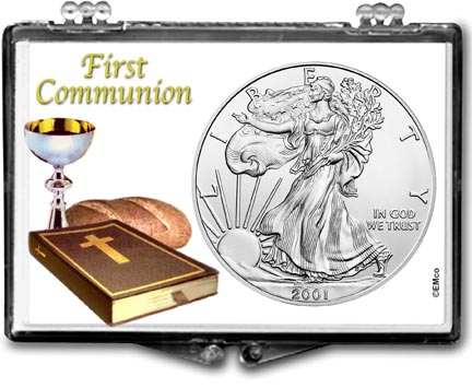 2001 First Communion American Silver Eagle Gift Display LARGE