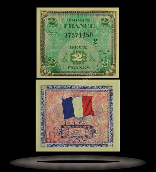 Allied Military Currency, France Banknote, 2 Francs, 1944, P#114b