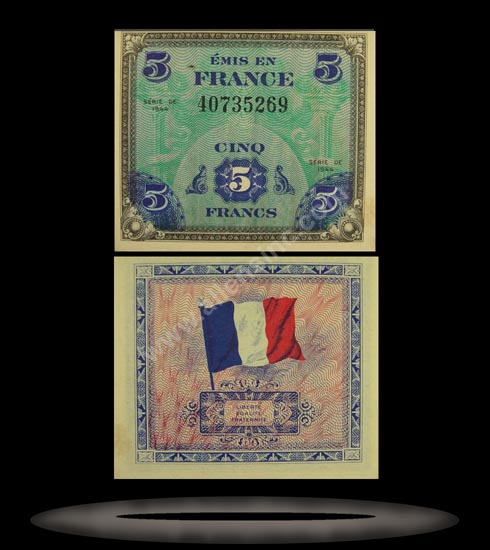 Allied Military Currency, France Banknote, 5 Francs, 1944, P#115a MAIN