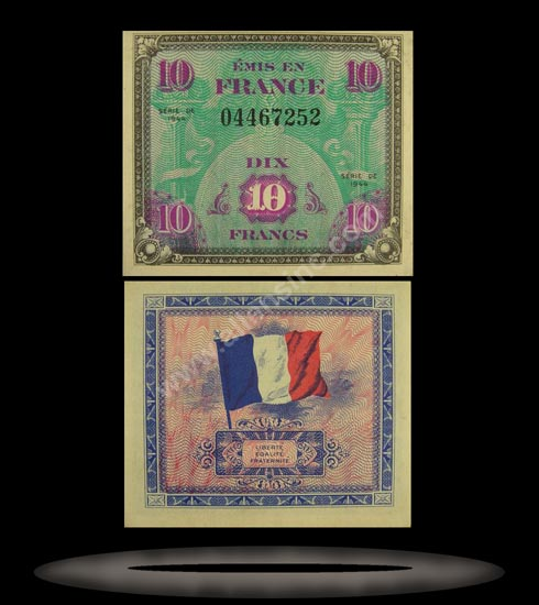 Allied Military Currency, France Banknote, 10 Francs, 1944, P#116a