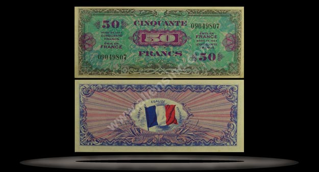 Allied Military Currency, France Banknote, 50 Francs, 1944, P#117a