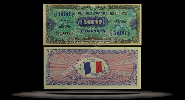 Allied Military Currency, France Banknote, 100 Francs, 1944, P#118a