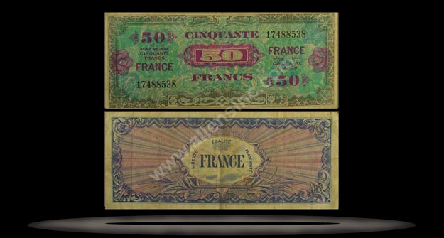 Allied Military Currency, France Banknote, 50 Francs, 1944, P#122b