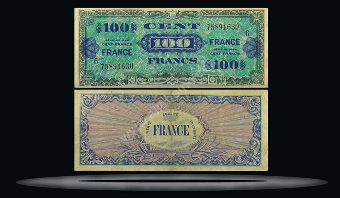 Allied Military Currency, France Banknote, 100 Francs, 1944, P#123a