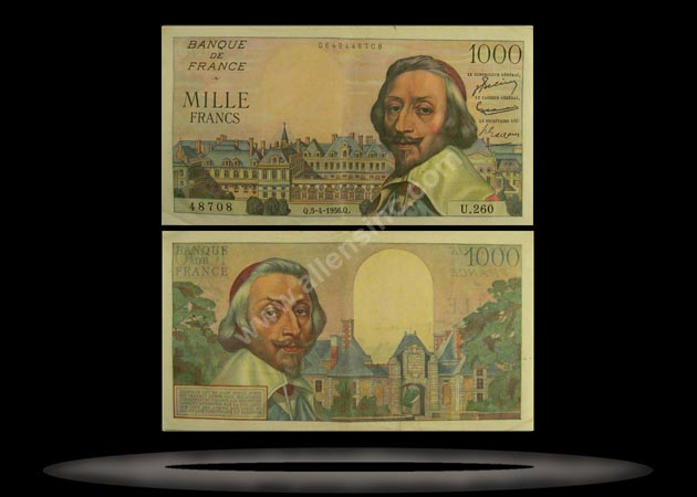 France Banknote, 1000 Francs, 5.4.1956, P#134a MAIN