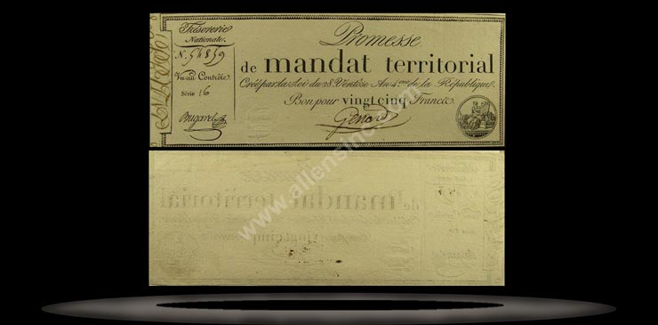 France Banknote, 25 Francs, An IV (18.3.1796), P#83b